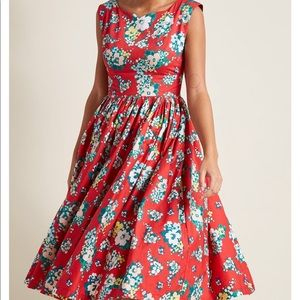 ModCloth Red Floral A line dress